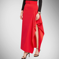 Early Autumn In Europe And The Big Long Skirt Flounce Asymmetric Split Red Skirt