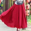 8 м Большие Качели Красный Длинная Юбка Элегантный Для Женщин 2016 Весна Лето Пляж Сплошной Цвет Шифон Длина Лодыжки