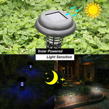 UV LED Solar Powered Outdoor Yard Taman Rumput Anti Nyamuk Serangga Hama Bug Zapper Pembunuh Perangkap Lampu Lentera Lampu dengan spike(China)