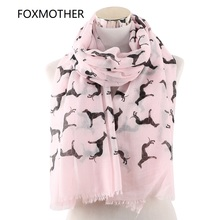 FOXMOTHER New Fashion Scarves Spring Summer Pink White Doberman Dog Animal Printed Scarf For Lover Mom Gifts Dropshipping