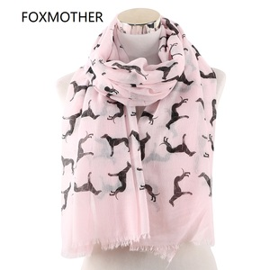 FOXMOTHER New Fashion Scarves Spring Summer Pink White Doberman Dog Animal Printed Scarf For Dog Lover Mom Gifts Dropshipping(China)