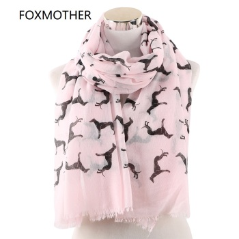 FOXMOTHER New Fashion Scarves Spring Summer Pink White Doberman Dog Animal Printed Scarf For Lover Mom Gifts Dropshipping - discount item  20% OFF Scarves & Wraps