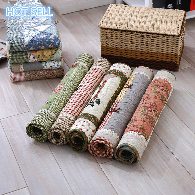 Free Shipping Machine washable quilted handmade patchwork cotton mats non-slip livingroom fabric pastoral bedroom bath mats