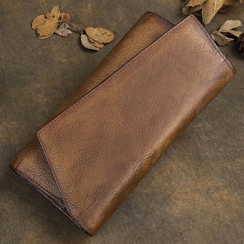 Унисекс ручной работы Корова кожаный бумажник Для мужчин кошельки Винтаж из натуральной кожи Для женщин бумажник мужской Hasp женский кошеле