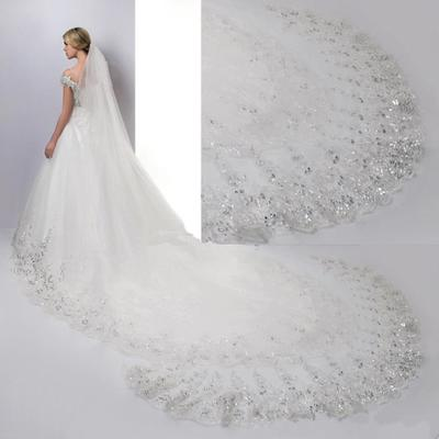Hot Sale Lace Bridal Veil With Sequins Long Tulle Wedding Accessoryes 3.5 Meters Long