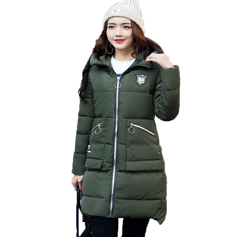 New 2017 Women Medium-long Parkas Autumn Winter Long Sleeved Hooded Thickening Slim Padded Jacket Jaqueta Feminina Inverno Coats long long