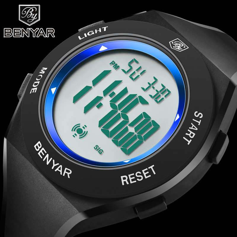 Benyar Electronic LED watch fashion sport waterproof men's watch Silica gel digital display Luminous clock children's wirstwatch new fashion silica gel electronic digital touch screen led watch