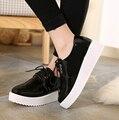 Sapatilhas Femininas свободного покроя 2016 осень спокойный комфорт Harajuku обувь мода платформы серебряные башмачки черный оксфорд обувь