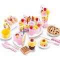 54 Pçs/sets Brinquedo Do Bebê Das Meninas Dos Meninos de Aniversário Pode Ser Cortado Frutas Bolo Cozinhar Louça Cozinha Crianças Brinquedos Educativos Presente