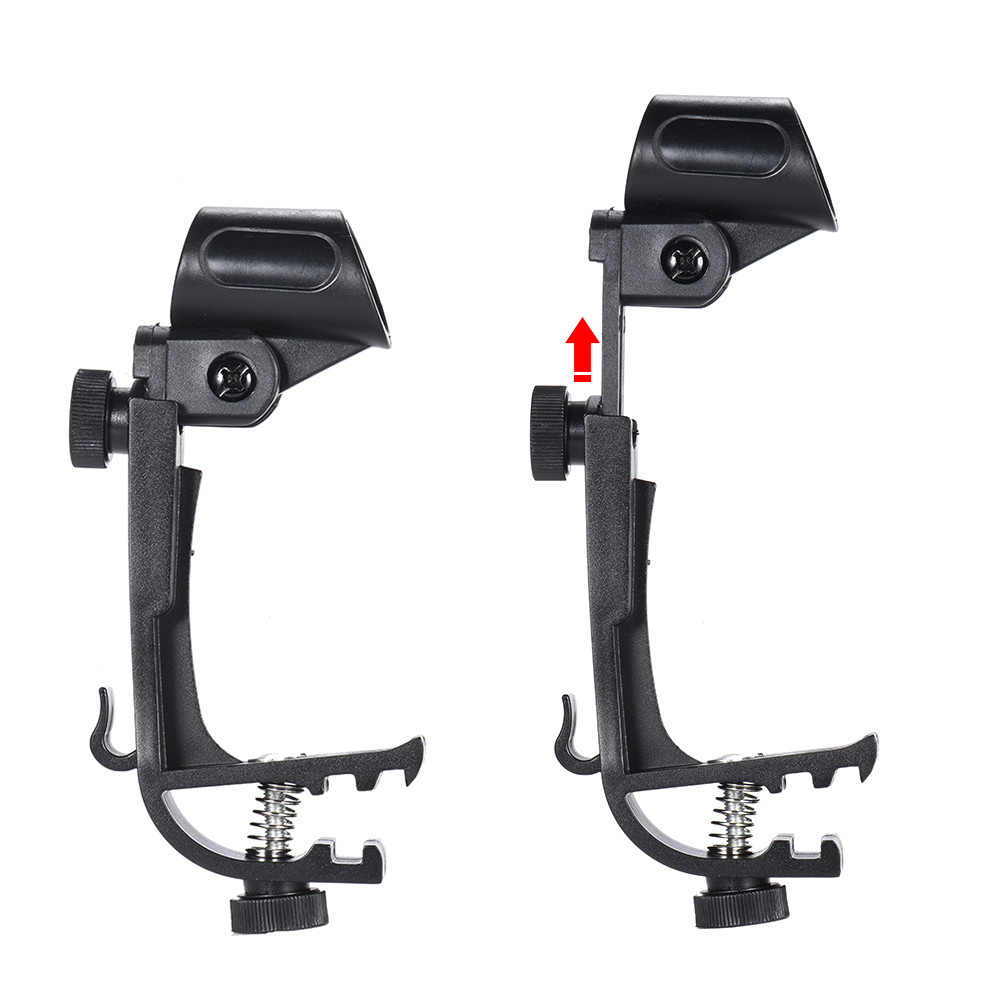 2 Pcs/lot Plastic+metal Microphone Adjustable Stage Drum Clips Mic Rim Snare Mount Clamp Holder Groove Gear Studio Stand