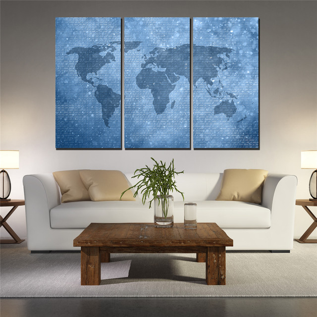 Aliexpresscom Buy Canvas Wall Art Pictures Blue World Map Posters - 3 piece world map wall art