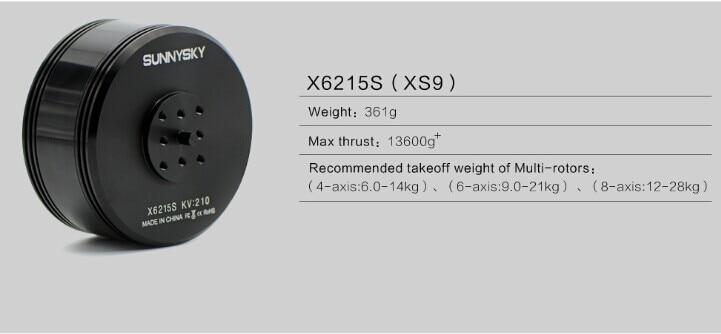 Original SUNNYSKY X6215S 170KV 210KV Brushless Motor for Plant Protection Drone Multicopter 2017 dxf sunnysky x2206 1500kv 1900kv outrunner brushless motor 2206 for rc quadcopter multicopter
