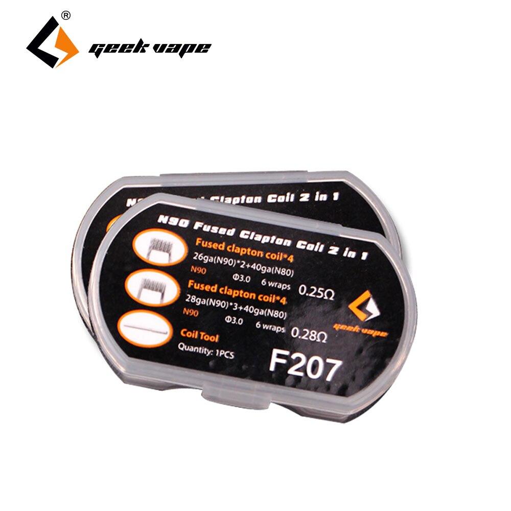 8 stücke GeekVape N90 Verschmolzen Clapton Spule 2 In 1 0.28ohm/0.25ohm Premium Spule Reduziert Carbon Anzahlung für DIY RTA/RDA/RDTA Zigarette