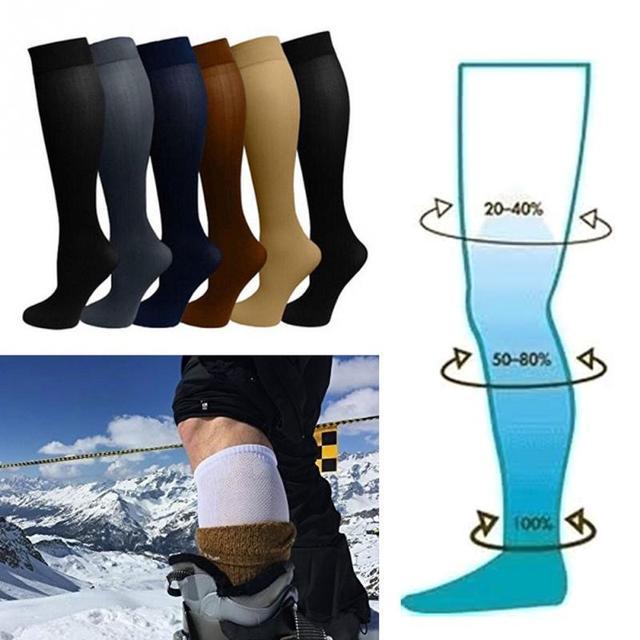 Новые носки унисекс, компрессионные чулки, варикозные вены под давлением, чулки до колена, высокая поддержка ног, эластичная циркуляция под давлением #745