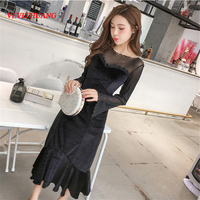 2018 Spring Women dress Patchwork Lace Long Velvet False Tail Dresses Black L0885