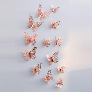 Image 3 - 12 pièces 3D creux papillon autocollant mural pour la décoration de la maison bricolage Stickers muraux pour enfants chambres fête mariage décor papillon réfrigérateur