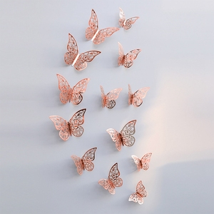 Image 3 - 12Pcs 3D Hollow Butterfly Wall Sticker For Home Decoration DIY Wall Stickers For Kids Rooms Party Wedding Decor Butterfly Fridge
