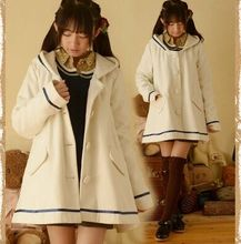 Japanese mori girl pure color navy style wool jacket white single-breasted cute long winter women coat size medium free shipping