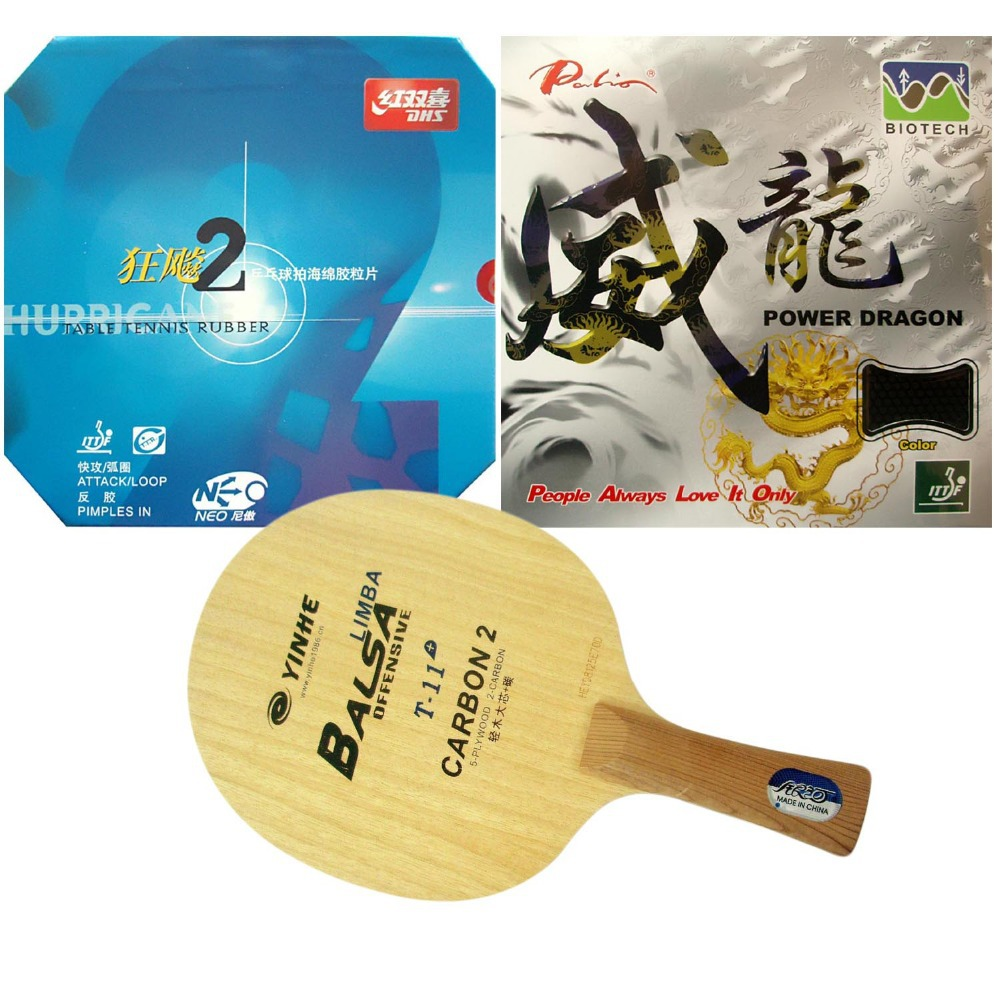 Pro Table Tennis PingPong Combo Racket: Galaxy T-11+ with DHS NEO Hurricane 2 and Palio Power Dragon Shakehand Long handle FL pro table tennis pingpong combo racket galaxy w 6 with tuttle beijing ii and dhs neo hurricane 3 long shakehand fl