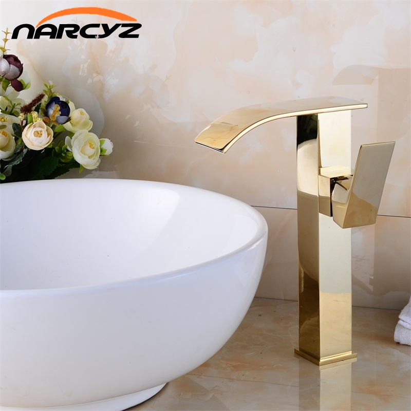 Golden Finish Bathroom Basin Faucet Single Handle Bathroom Sink Mixer Faucet Crane Tap Antique Brass Hot Cold Water Deck XT831 okaros bathroom basin faucet brass golden polish swan shape heighten single handle hot&cold water vanity sink mixer tap 2016 new