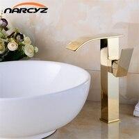 Golden Finish Bathroom Basin Faucet Single Handle Bathroom Sink Mixer Faucet Crane Tap Antique Brass Hot Cold Water Deck XT831