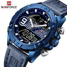 Топ Элитный бренд NAVIFORCE для мужчин Спорт часы кварцевые цифровые часы человек Модные Кожаные стиль милитари, военный, водонепроницаемый наручные