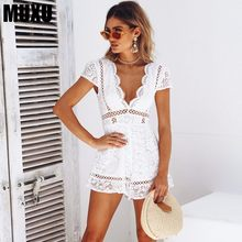 5f22bac4d8a MUXU jumpsuit short europe and the united states jumpsuits rompers  combinaison femme sexy summer white lace body suit shorts