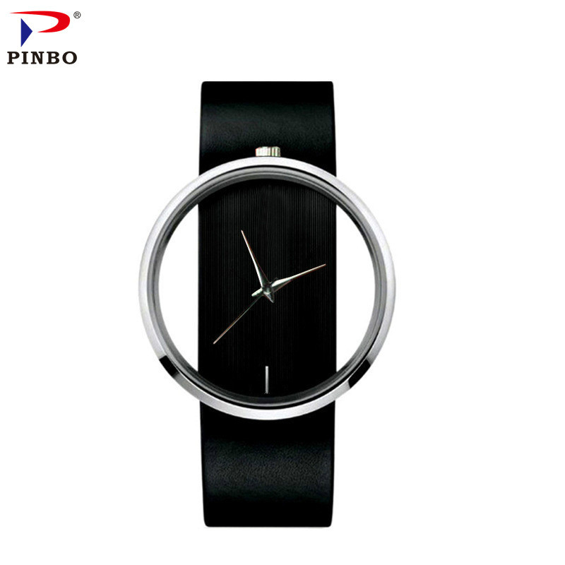 Watch Women PINBO Brand Luxury Fashion Quartz Unique Stylish Hollow Skeleton Watch Leather Sport Lady Wristwatches Reloj Mujer vansvar brand luxury fashion casual quartz unique stylish hollow skeleton watch leather sport ladies wristwatches drop shipping