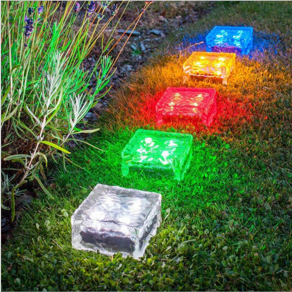 Hi-Lumix 4 Leds Frosted Glass Brick Paver Garden Light Solar Ground Light Waterproof Ice Cube Rocks for Path Road Square Yard