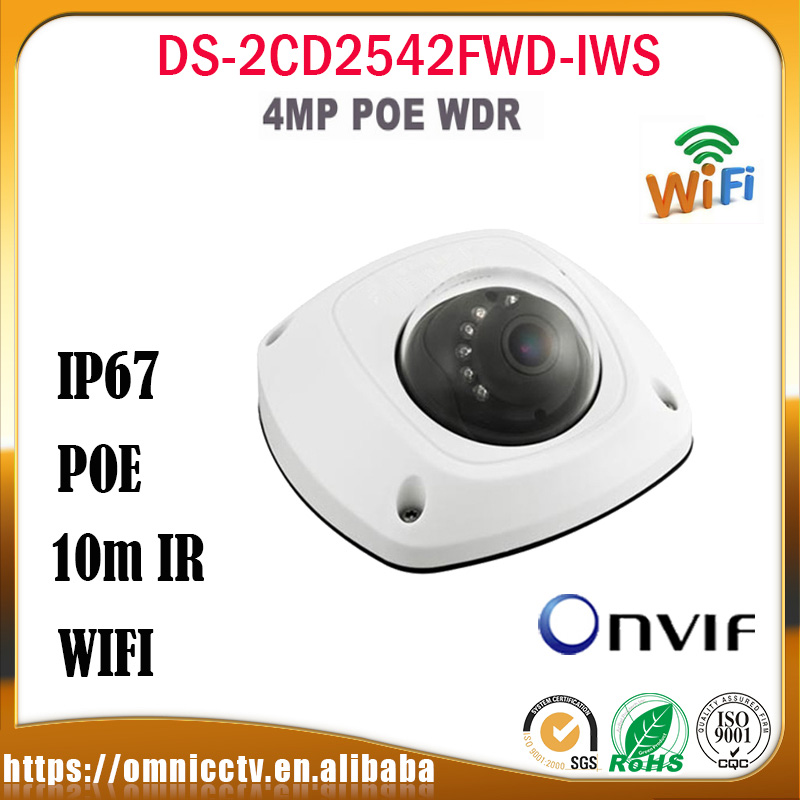 Hikvision 4MP IP PoE Camera DS-2CD2542FWD-IWS Audio WDR Mini Dome Network WIFI Built-in Mic Audio Input CCTV Security Camera free shipping in stock new arrival english version ds 2cd2142fwd iws 4mp wdr fixed dome with wifi network camera