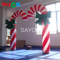Sayok 2pc/set Inflatable Christmas Crutch Candy Cane 2m/6.5ft High with 16 color LED Light for Home Shop Christmas Decorations
