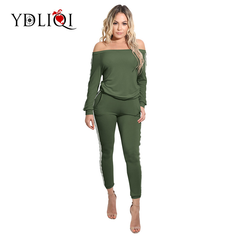 YDLIQI Women Autumn Tracksuit Striped Print Off Shoulder Suits Set Long Sleeve Sweatshir ...