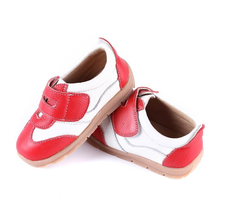 SandQ baby Boys sneakers soccers shoes girls sneakers Children leather shoes pink red black navy genuine leather flexible sole 16