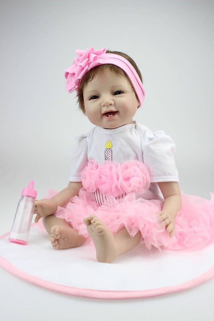 22 ιντσών μαλακή σιλικόνη ξυρισμένη κούκλα μωρών χειροποίητα κορίτσια βινυλίου bebe παιχνίδια δώρα ξαναγεννηθεί brinquedos νωρίς εκπαίδευση ξαναγεννήσει κούκλες μωρών