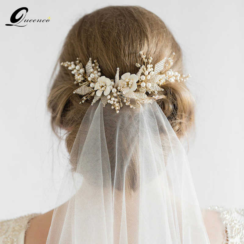 Queenco Gold Bridal Hair Comb Pearl Beads Wedding Hair Accessories Women Headpiece Girl's Hair Vine Party Hair Jewelry