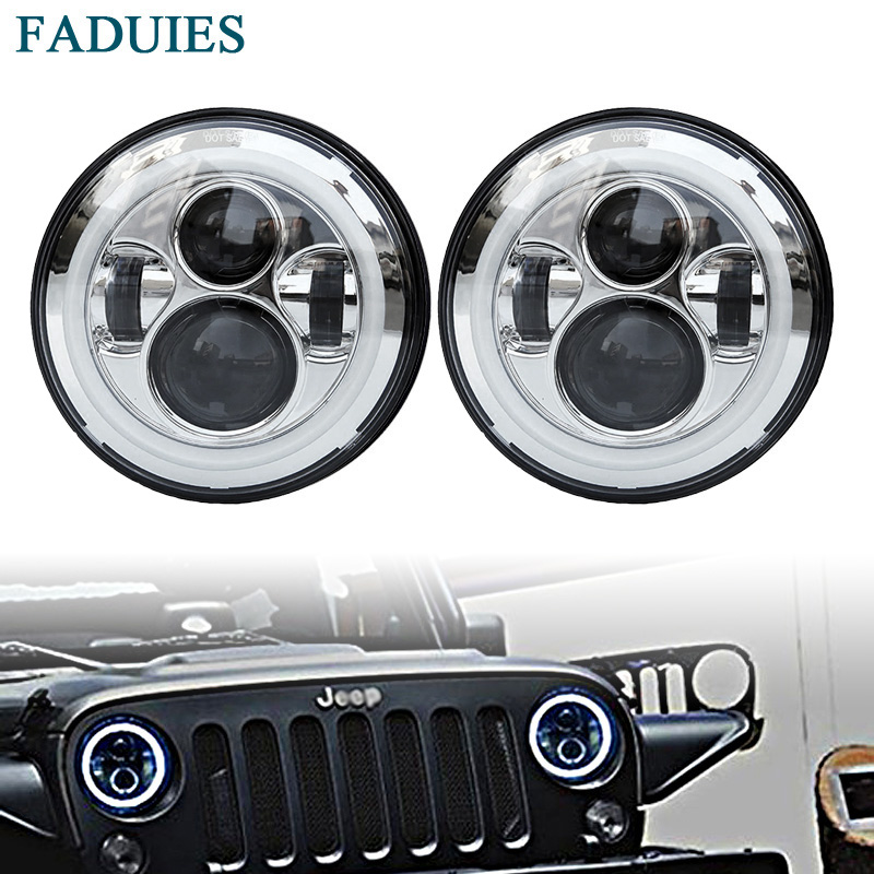 FADUIES Chrome 7 Round H4 40W high Low Beam LED Headlamp with DRL For Jeep Wrangler JK LJ TJ Lada niva 4x4 Hummer H1 H2