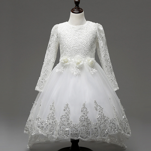 0b147b0e55354 US $25.98 |Fashion Children Evening Dress White Long Sleeve Girl Dress  Tulle Flower Party Wedding Lace Dress Kids Ball Gown Dress Vestidos-in  Dresses ...