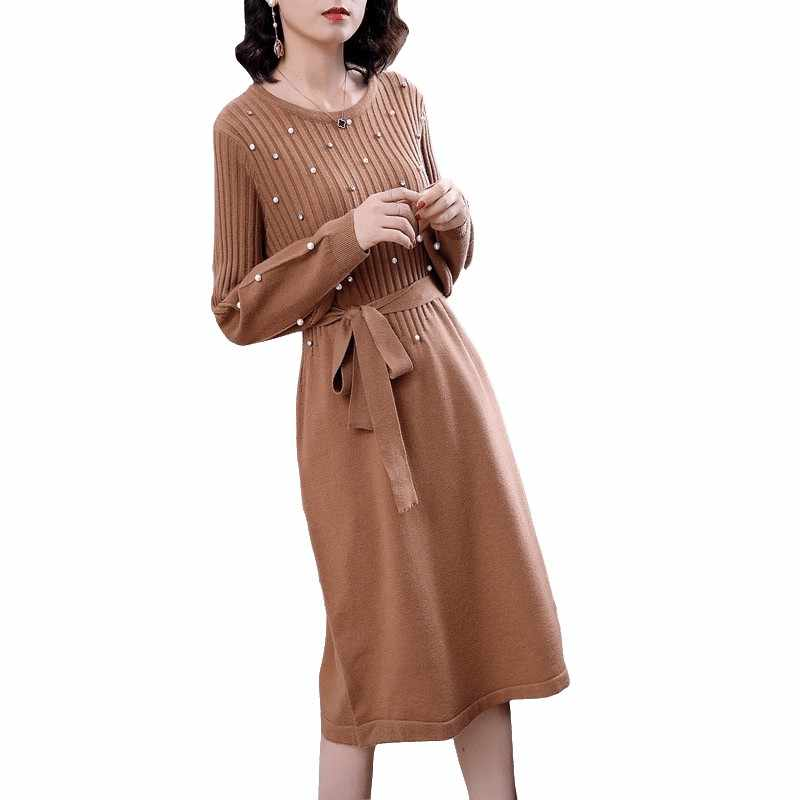 Nữ Thu Đông Đầm Dệt Kim Tất Tay Phồng Chiếu Trúc Hạt Dài Áo Len Đầm Nữ Rời Đáy Đầm Vestidos D288