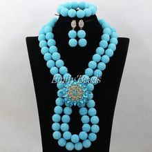 Bright Sky Blue African Beads Jewelry Set Pretty Handmade Nigerian Wedding Brides Gift Jewelry Set Free Shipping AIJ716