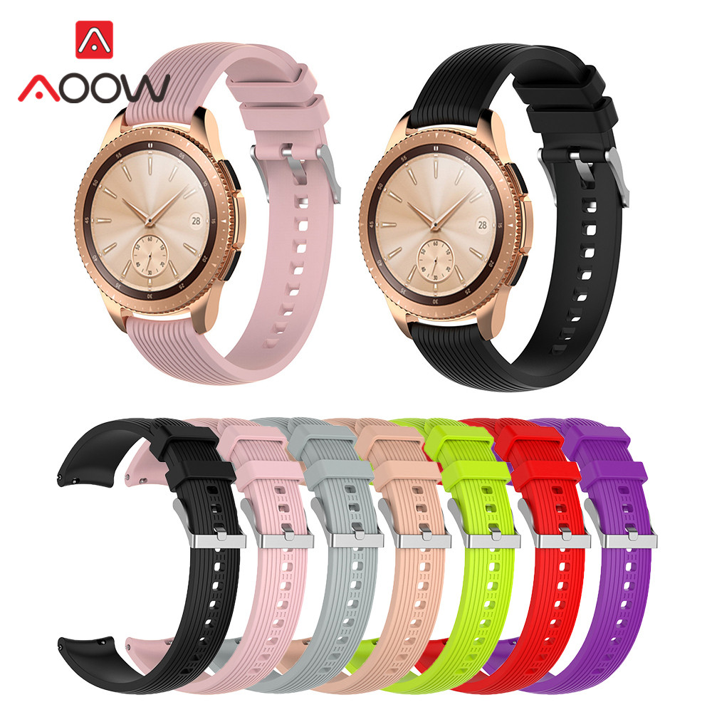 20mm Silicone Watchband for Samsung Galaxy Watch 42mm Version Pink Black Red Striped Replacement Bracelet Band Strap for SM-R180 цена