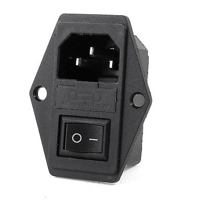 Rocker Switch 3 Terminals IEC320 C14 Inlet Male Plug Power Socket 250V 15A 660v ui 10a ith 8 terminals rotary cam universal changeover combination switch