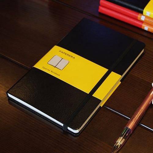 Cuaderno escolar clásico de oficina de tapa dura, cuaderno de Planificador de vendaje fino, 4 tipos de papel interior: puntos de rejilla en blanco, A5A6