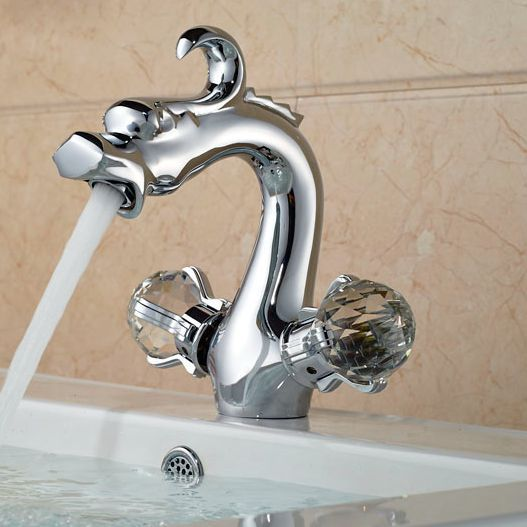 Chrome Finish Dragon Basin Faucet Bathroom hot and cold Water Mixer Taps hot sale chrome finish with diamond toilet paper holder lavatory wc roll tissue porte papier bathroom basin accessories