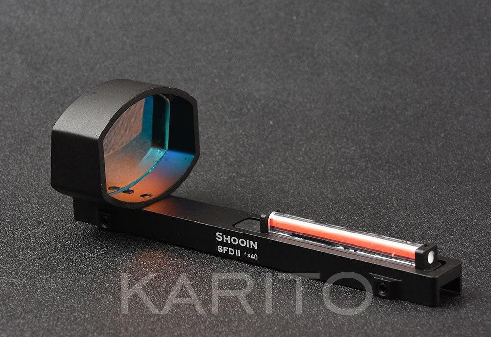 Shooin SFD II lightweight 1x optics red fiber dot sight scope for shotguns rib rail base mount hunting shooting M5167