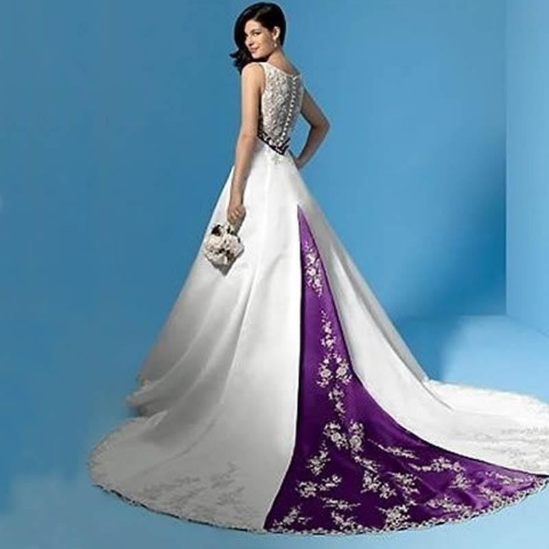 6901809f93 Elegant Stunning Purple and White Wedding Dresses Satin Bridal Gowns A Line Empire  Bride Dress 2019 Neck Lace Appliques Sash Bow
