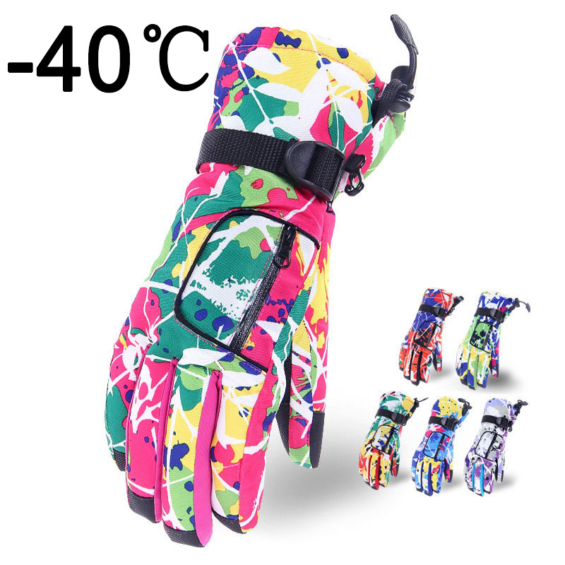 Waterproof Cold Weather Ski Snowboard Gloves For Women Fashion Camo Snow Proof  With Wrist Leash Men Winter Cycling Non-Slip
