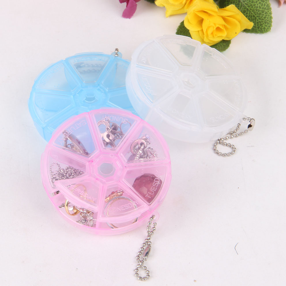 Hair accessories storage case - Cute 10pcs Round Diy Finding Organizer Storage Beads Box Jewelry Case 7 Cells Plastic Tool Bins