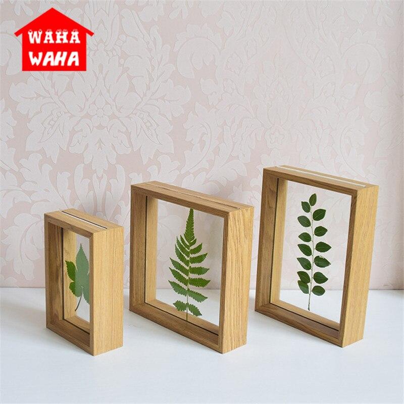 Modern Rustic Wooden Glass Photo Frames DIY Plant Specimen Clamp ...