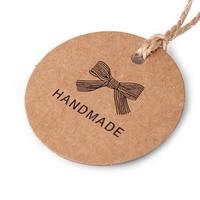 200Pcs Lot HANDMADE DIY Tags Paper Tags Decorative Card Brown Kraft Paper Round Gift Box Pendant