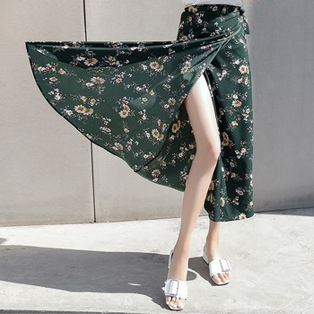 Boho Women Flower Long Skirt Summer Beach Sunny Skirts Floral Chiffon Tutu Skirt 2